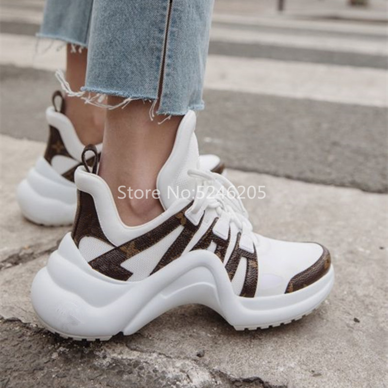 Hot Selling Archlight Fashion Ultra Breathable Mesh And Leather Casual Shoes Lace Up Trainers Brand Street Styles Women Sneaker on AliExpress