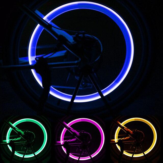 FORAUTO 2PCS Car Wheel LED Light Motocycle Bike Light Tire Valve Cap Decorative Lantern Tire Valve Cap Flash Spoke Neon Lamp 3