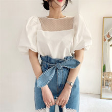 HziriP 2020 Summer Sweet Polka Dots Light Mesh Patchwork Lace Puff Sleeves Blouses Elegance OL