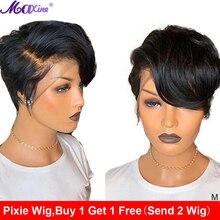 מקסין קצר פיקסי לחתוך פאת בוב תחרה מול שיער טבעי פאה עבור נשים ישר תחרת פאה קצר שיער טבעי פאה 13x4 חזיתי רמי פאה