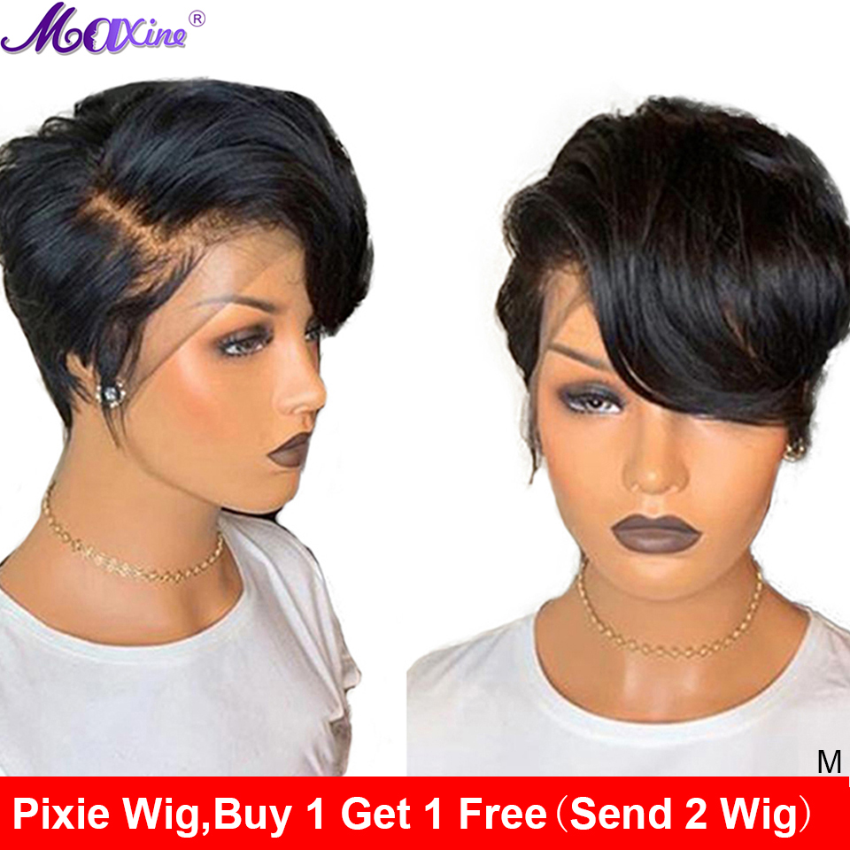 Maxine Wig Wig-Short Human-Hair-Wig Wavy Hair Lace-Front Pixie-Cut Bob title=