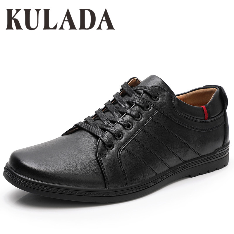 KULADA Top Quality Big Size Shoes Men's Casual Shoes Soft Fashion Walking PU Leather Comfortable Men Lace-up Hand-Made Shoes