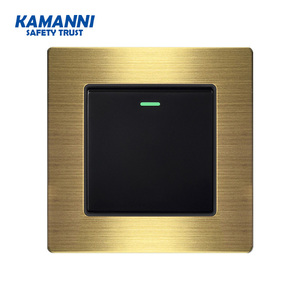 Kamanni Luxury 1 2 3 4 Gang 1 Push / Close Wall Switch Button Click, Aluminum Alloy Panel with Indicator 10A Gold with Random(China)