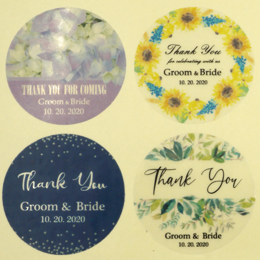 96Pcs 4cm/1.6in Transparent Wedding Sticker Personalized Your Names and Date Wedding Engagement Anniversary Party Favors Labels