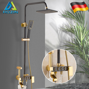 Rozin Black Gold Shower Faucet Set Space Aluminum Rainfall Bathroom Shower Mixer Faucets With Bidet Hot Cold Water Mixer Tap