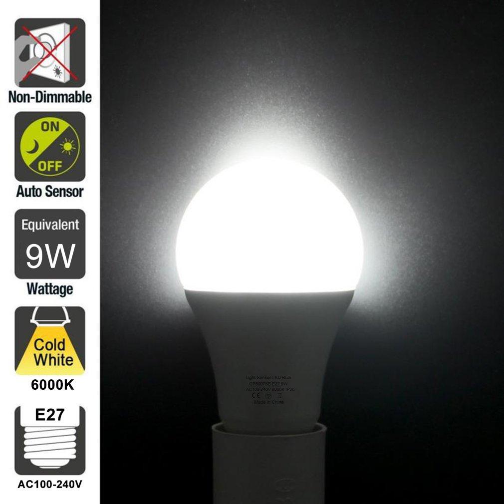 9 w e27 sensor de luz inteligente lâmpada led 6000 k com interruptor automático sensor de detecção de fotosensor embutido para interior ao ar livre - 2
