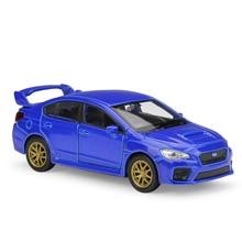 цена на Welly 1:36 Original box Subaru WRX STI Impreza Blue Pull BackCar Diecast Car Model Toy Vehicle Car Model Models Kids Car