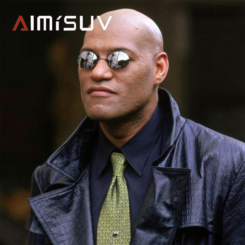 AIMISUV Round Rimless Sunglasses Men Matrix Morpheus Men's Classic Clamp Nose Glasses  Mini Frameless Brand Design Glasses UV400