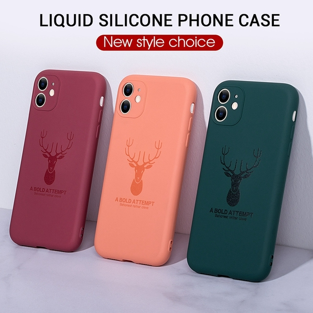 For iPhone 11 Pro Max XS XR X XS Max 7 8 Plus Ultra-thin Liquid Silicone Deer Antlers Phone Case Luxury Soft TPU Back Cover 11+
