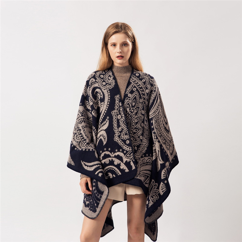2019 New Fashion Winter Warm Ponchos And Capes For Women Oversized Shawls And Wraps Cashmere Pashmina Female Bufanda Mujer