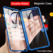 360 Magnetic Adsorption Metal Case For Samsung Galaxy S20 S8 S9 S10 Plus Note 20 8 9 10 A10 A50 A51 A71 Double-Sided Glass Cover tanie tanio FUJFGH CN (pochodzenie) Etui z klapką Double-Sided (Front+Back) Tempered Glass Galaxy S8 Galaxy S8 Plus Galaxy Note 8 Galaxy S9 Plus