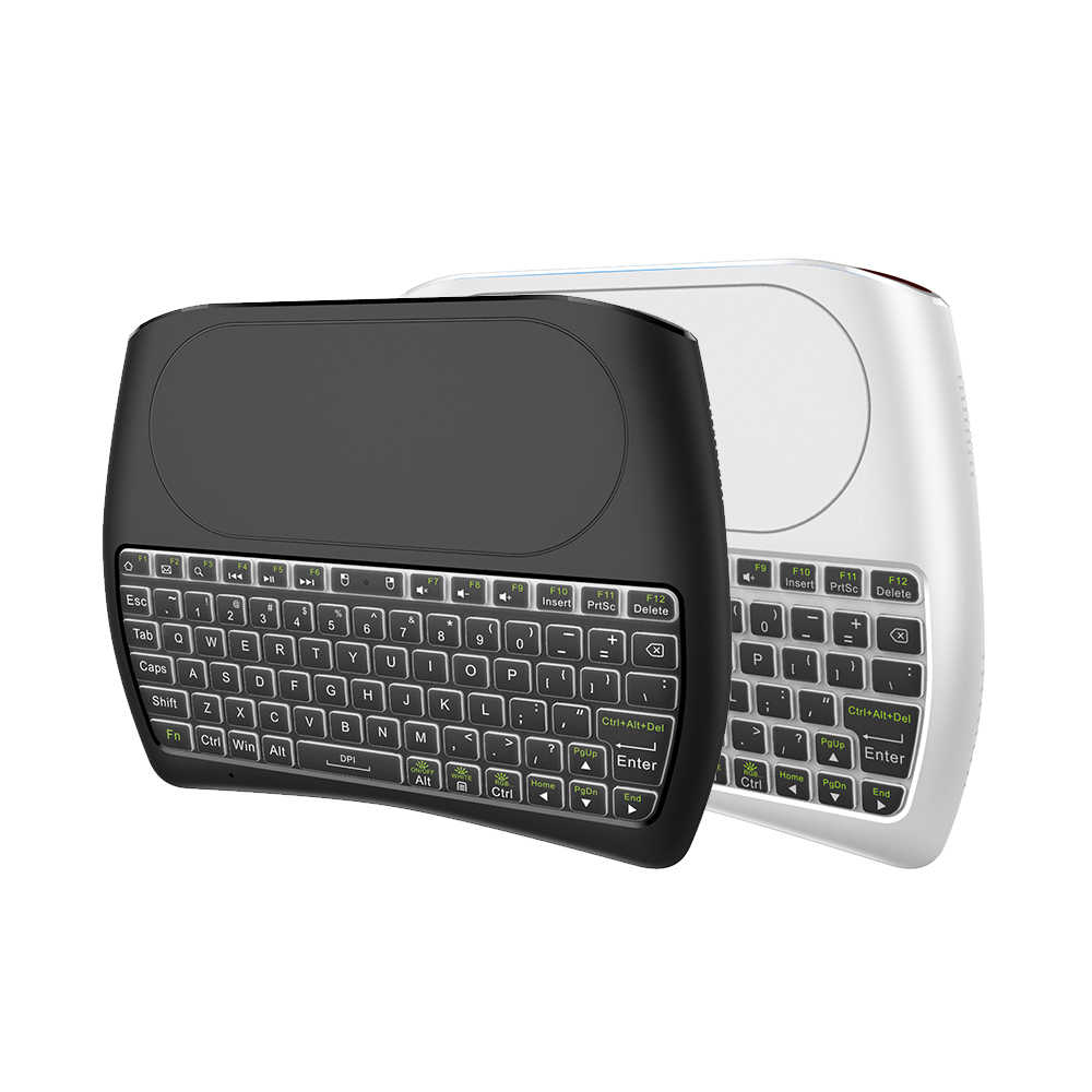 L8STAR Lampu Latar D8 PRO PLUS I8 Bahasa Rusia 2.4 GHZ Wireless Mini Keyboard Udara Mouse Touchpad Controller untuk Android TV kotak
