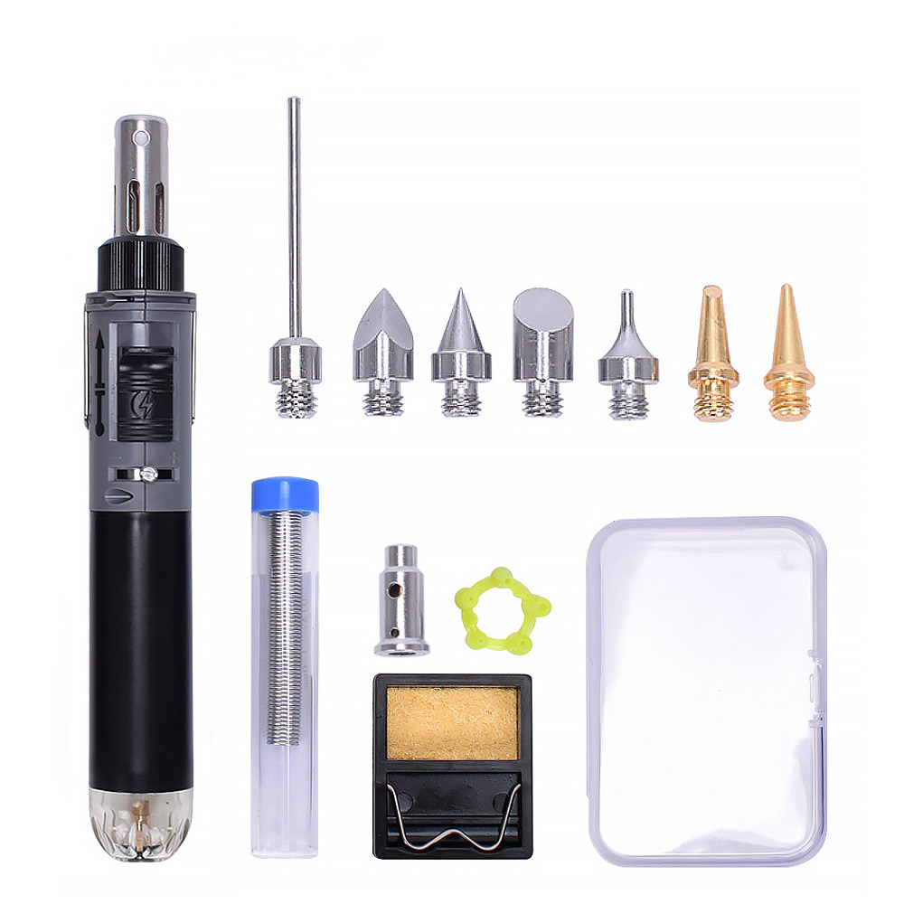 Image 2 - Toolour Mini Gas Soldering Iron Kit Cordless Self Ignition Welding Gun Torch Repair Soldering Station Tip Pyrography Wood ToolElectric Soldering Irons   - AliExpress