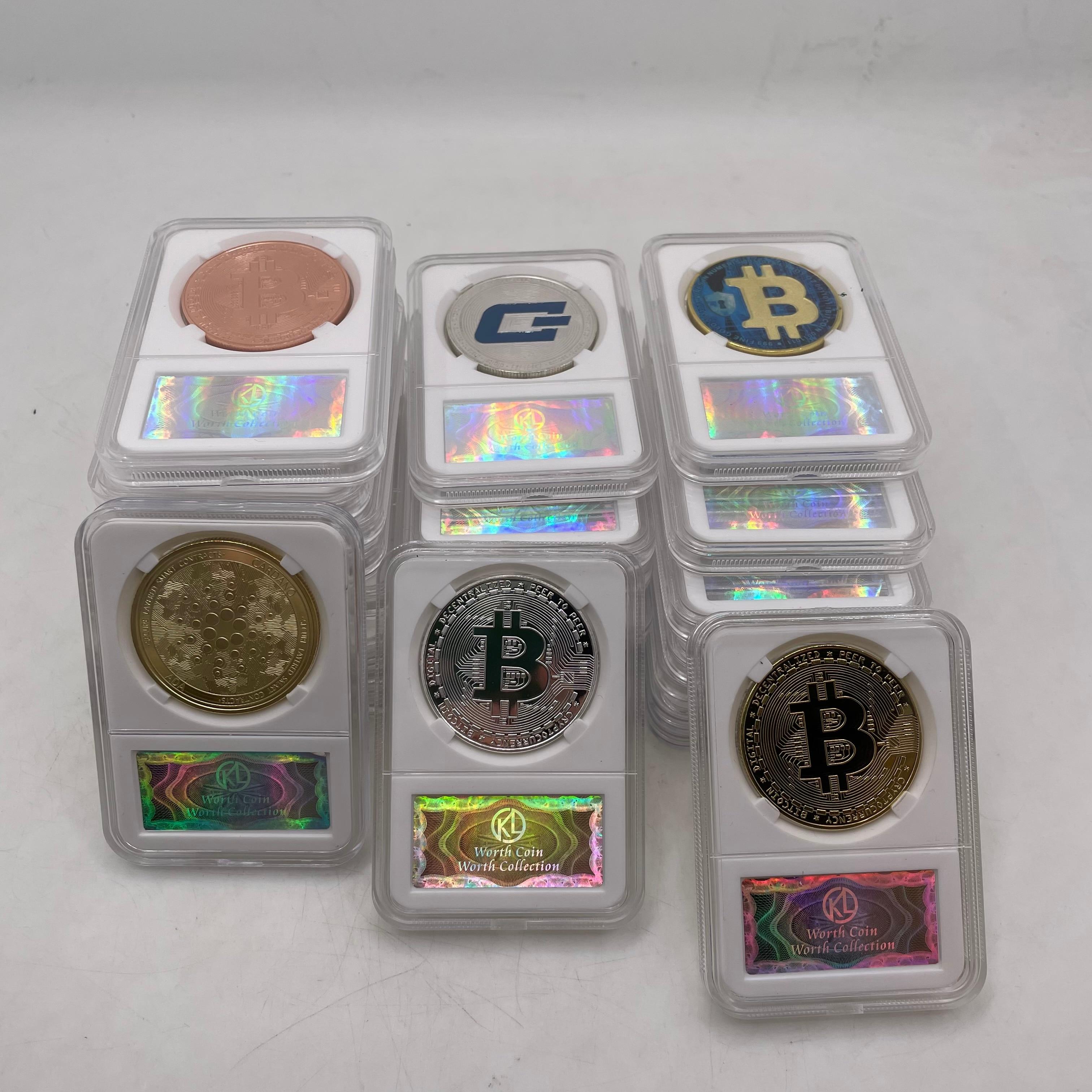 36 типов дожкойн/Bitcoin ETH/Litecoin/приборной панели/пульсация/монеро/EOS Металл физическое серебро/золото Ada Cardano монета с акриловый чехол