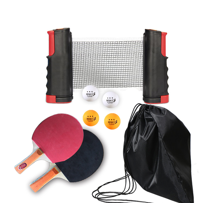 Купить с кэшбэком Portable Ping Pong Table Tennis Racket 1.9M Telescopic Net 4 Balls Rack 1 Pair Table Tennis Rubber Paddle Pingpong Training Set