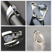 Einzigartige Stil Weibliche Marke Big-Finger-Ring Luxus Silber Rose Gold Farbe Engagement Ring Vintage Hochzeit Ringe Für Frauen