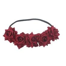 лучшая цена Sugarbay Red Rose Flower Crown Wedding Festival Headband Hair Garland Wedding Headpiece Bride's Holiday Hairband