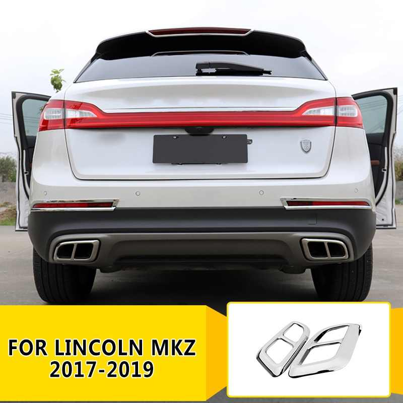 pcmos stainless rear bumper exhaust muffler decorative cover trim for lincoln mkz 2017 2019 exterior parts chromium styling