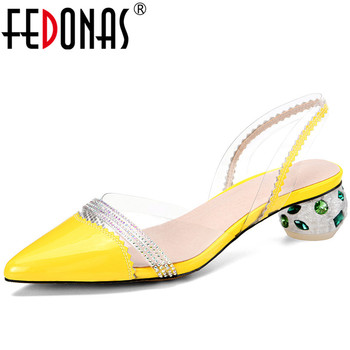 FEDONAS Women Rhinestone Lace Up High Heeled Brand Design Cow Leather Beaded Pointed Toe Slippers Sandals Summer Shoes Woman