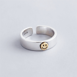 Sole Memory Retro Cute Golden Smiley Thai Silver 925 Sterling Silver Female Resizable Opening Rings SRI529