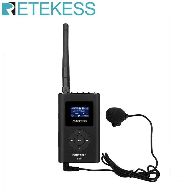 RETEKESS FT11 0.3W Wireless FM Broadcast Transmitter MP3 Portable for Church Car Meeting Support TF Card AUX Input