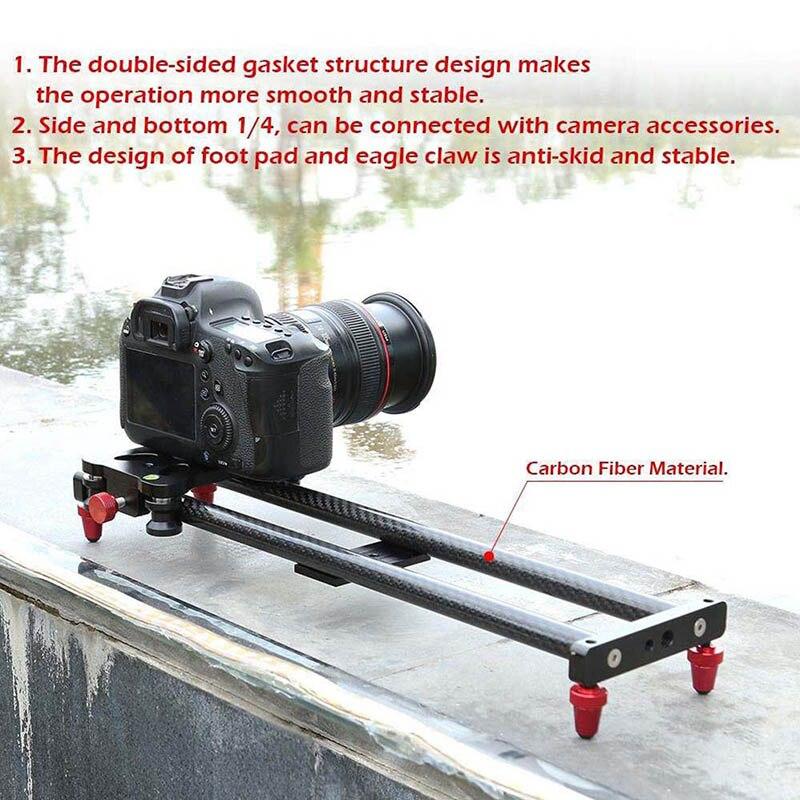 Piste de curseur de caméra de Fiber de carbone de 15.7 pouces avec 4 roulements à rouleaux pour la fabrication de film vidéo FKU66