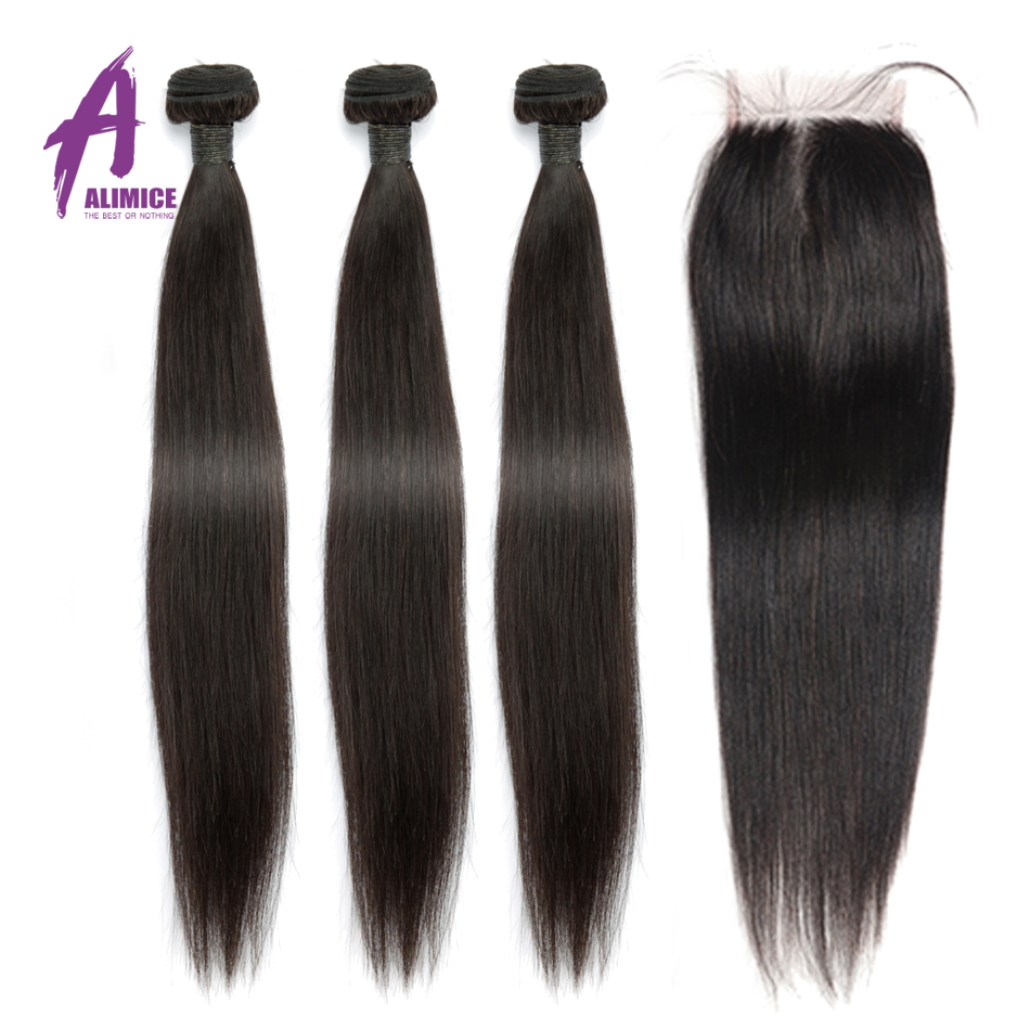 Straight Human Hair Bundles With Lace Closure Brazilian Hair Weave Bundles With Closure Alimice 3 Bundles With Closure Remy