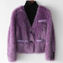 2021 Autumn Winter Women's Eelegant V-neck Wool fur jackets France Style high quality Wool short coat C848
