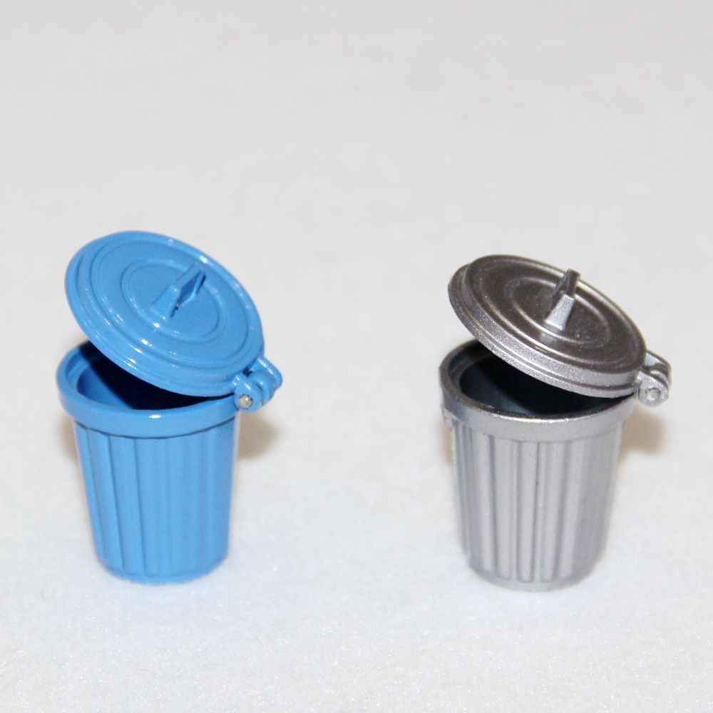 1:12 Blue Silver Metal Mini Garbage Dustbin Trash Can Simulation Kitchen Furniture Toys Dollhouse Miniature Accessories