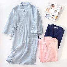 Autumn 100% Cotton Crepe Double Gauze Japanese Kimono Robe Womens Robes Sleepwear Couple Dressing Gown Long Wedding Pajamas