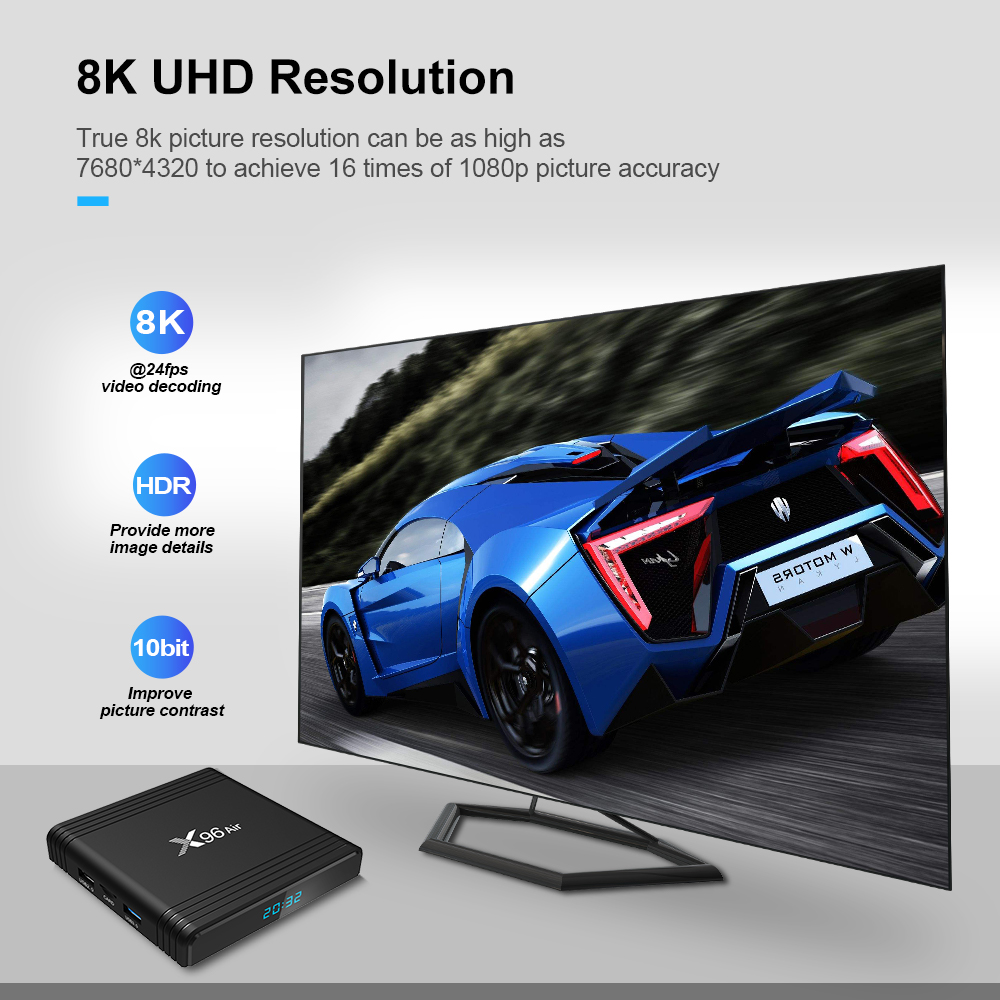 4 2 New X96 Air 4GB 64GB Smart TV Box Amlogic S905X3 Android 9.0 TV BOX Bluetooth 4.0 1080P 8K 60fps 2.4G&5.0 WIFI Set Top Box (2)