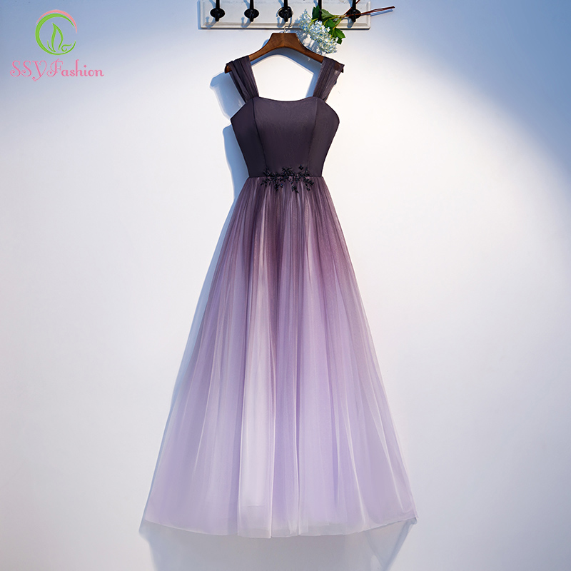 SSYFashion New Bridesmaid Dresses Gradient Purple Simple Floor-length Elegant Banquet Long Formal Dresses Vestido De Noche