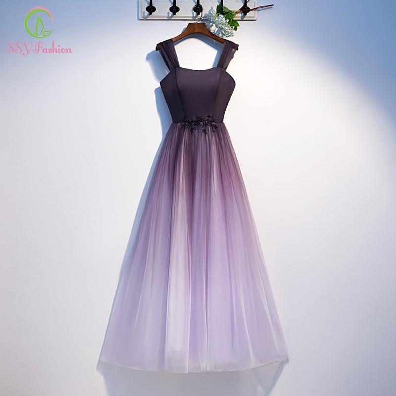 SSYFashion New Bridesmaid Dresses Gradient Purple Simple Floor-length Elegant Banquet Long Formal Dresses Vestido De Noche
