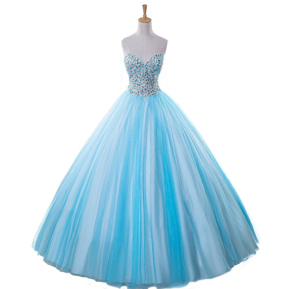 Luxury Princess Blue Quinceanera Beaded Sparkling Crystal Ball Prom Gown Vestido De Noiva 2018 Mother Of The Bride Dresses