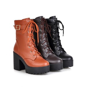 Image 3 - Women Boots Leisure High heels Shoes 2019 Autumn New Thick Heel Ankle Boots High Heel Boots Thick Bottom Lace Up Womens Boots