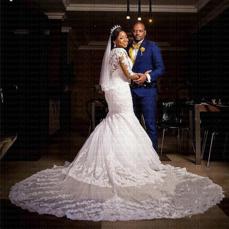 New African Long Sleeve Mermaid Wedding Dress 2019 Sheer Sweep Train Bridal Gowns Lace Robe De Mariee Vestido De Novia