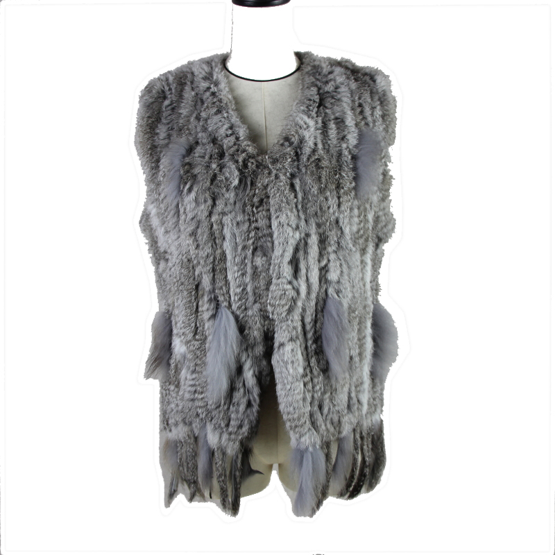 2020 Fur Knitted Real Rabbit Fur Vest /jacket/coat Winter Warm Women Genuine Fur Outwear