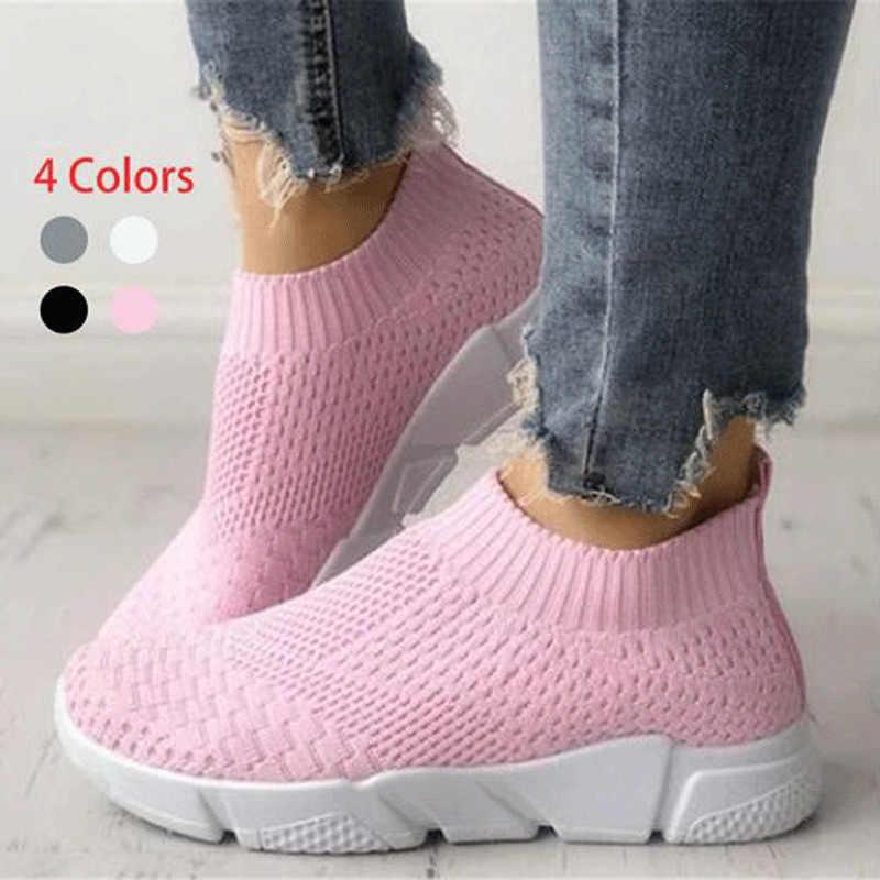 Kadın ayakkabı artı boyutu 40 Sneakers kadınlar yaz spor ayakkabı 2019 nefes Flyknit beyaz Sneakers Zapatillas Mujer rahat Krasovki