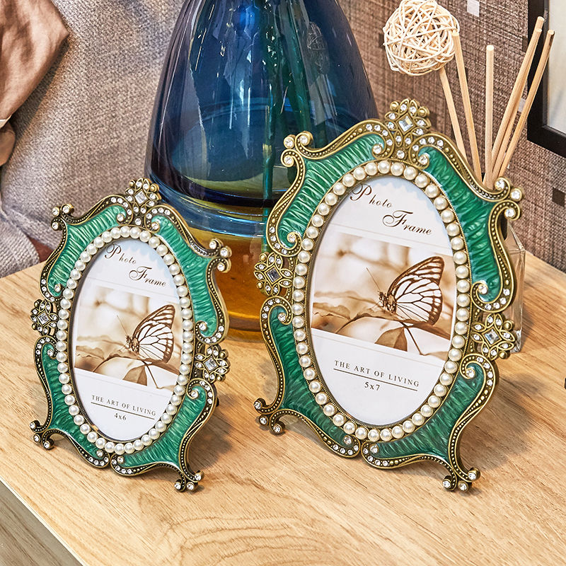 Round Classic Picture Photo Frame American Style Vintage Style Picture Frames Women Quadros Decorativos Modern Decor BD50FE