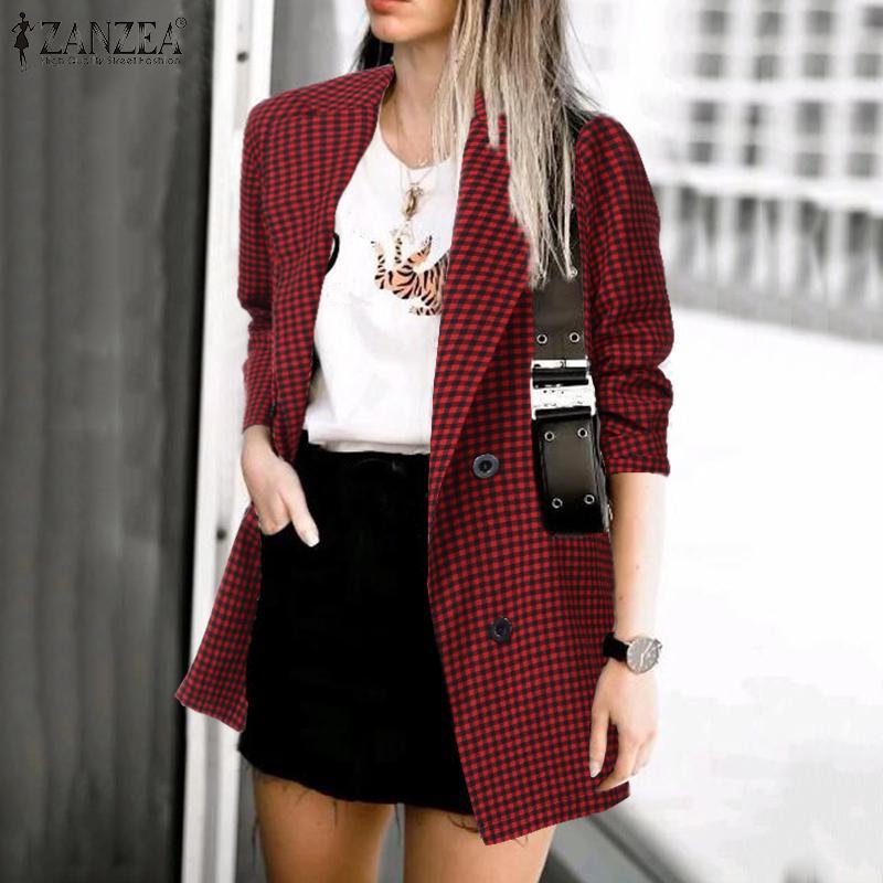 ZANZEA 2020 Fashion Women Plaid Check Blazer Casual Pockets Blazer Feminino Office Lady Blazers Lapel Buttons Chaqueta Mujer 7