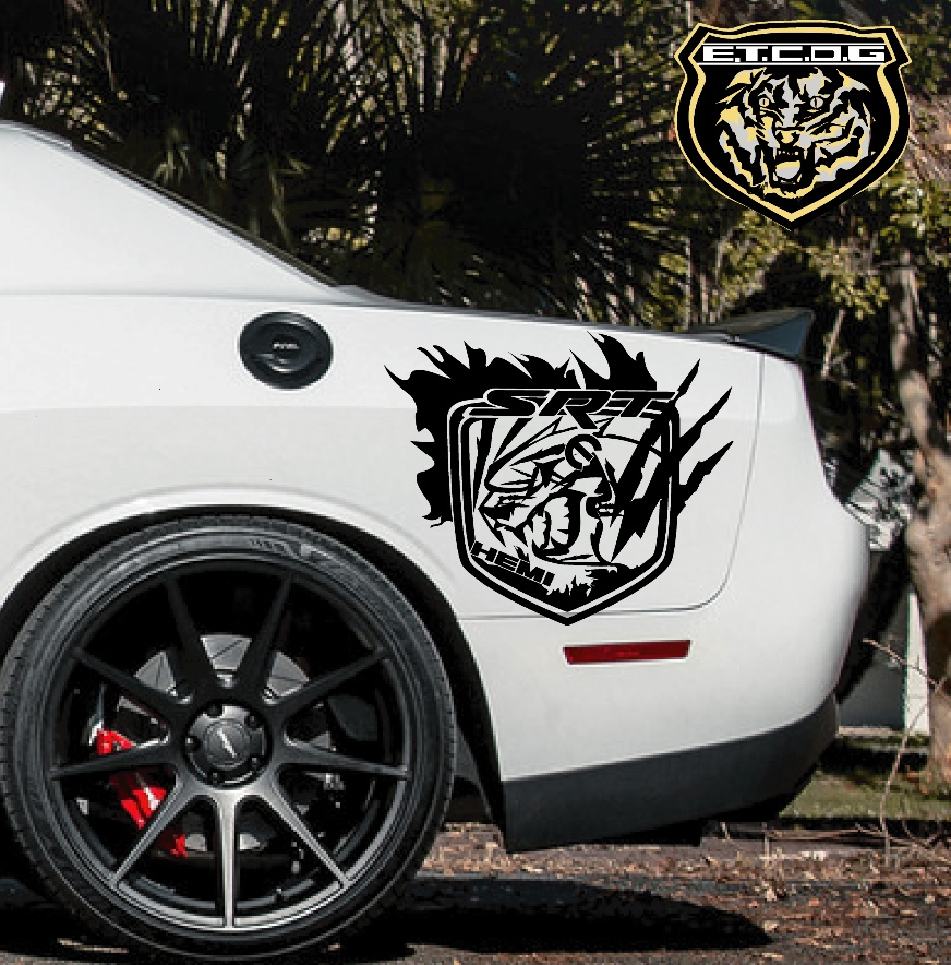 """Two 8/"""" fender SRT Helcat Style Decal sticker logo  Charger Challenger windshield"""