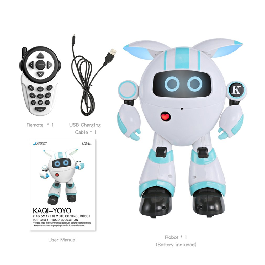 R14 KAQI-YOYO 2.4G Smart RC Robot Programmable Sing Tell Story Shining Light Robot Toys Gift for Children