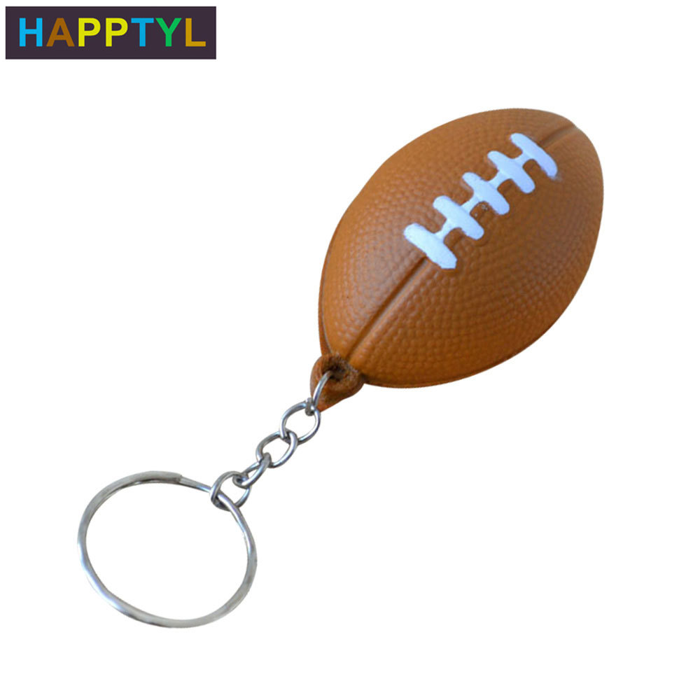 HAPPTYL PU Keychain Sports Football Toys Key Chains Jewelry Gift For Boys And Girls Sports Item Key Chains Football Keyring