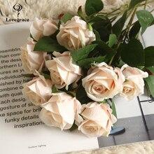 Lovegrace один ветка роза цветок искусственный шелк роза сделай сам подружка невесты букет цветок композиция шампанское дом свадьба декор