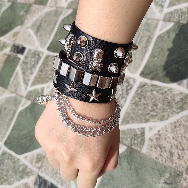 Skull Bracelet Hot Punk Harajuku wristband tassel black PU Leather Star pattern Choker bar Goth can be adjusted Skeleton Jewelry