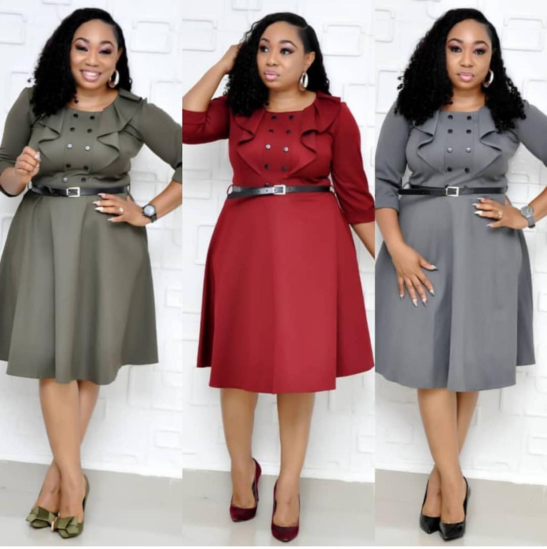 2019 New Arrival Elegent Fashion Style Autumn African Women Plus Size Knee-length Dress L-4XL