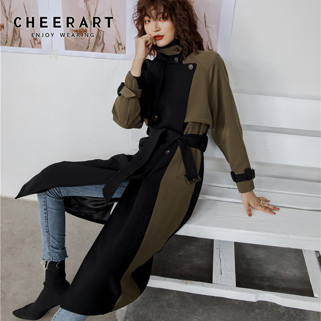 CHEERART Patchwork Winter Trench Coat Slim Double Breasted Black Long Wool Trench Coat For Women Clothes 2019