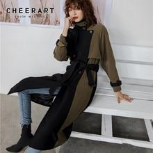 Cheerart retalhos inverno trench coat fino duplo breasted preto longo lã trench coat para roupas femininas 2019