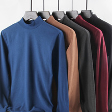 Men Thermal Underwear Turtleneck Tops Spring Autumn Bottoming Long Sleeves High Elastic T Shirts Solid Casual Pullovers