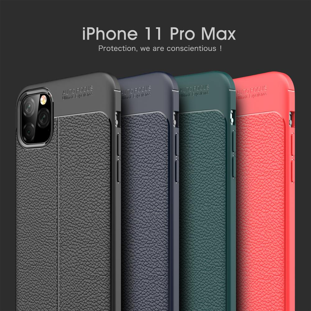 for Apple iphone 8 7 6Plus XS XR 11 ProMax Case Soft Litchi PU Leather Mobile Phone Back Cover Shockproof Case Shell Accessorie